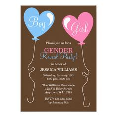 Gender Reveal Heart Balloons Pink and Blue Personalized Invite