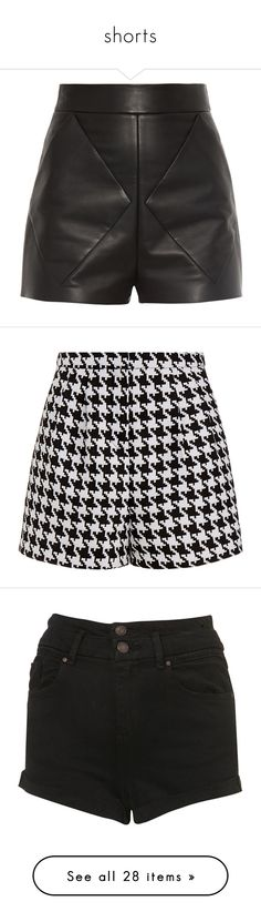 """shorts"" by iamvalerianl on Polyvore featuring shorts, bottoms, short, pants, leather shorts, leather short shorts, black leather shorts, high rise shorts, black high waisted shorts and multicolour"