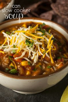 This crockpot Slow Cooker 7 Can Soup is the the easiest slowcooker recipe you will make. Brown the beef, open the cans, dump in the crock pot, and wait!