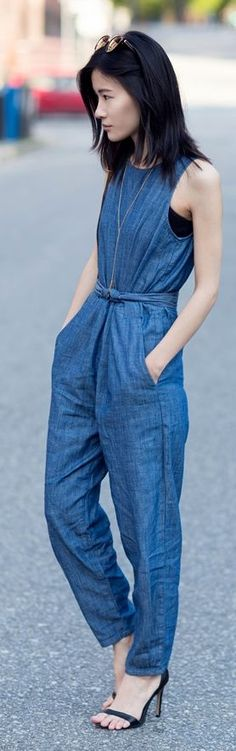 Denim Jumpsuit Styling Denim Jumpsuit, Jumpsuit Style, Denim Ideas, Denim Fashion, Style Fashion, Street Styles, Summer Outfits, Cute Outfits, Casual Outfits