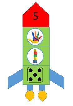 Met deze raketten oefen je op het tellen tot en met 5 en de beginklanken.
