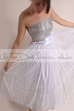 Wedding Dress/Vintage Inspired /  50s Style/Tutu tulle  tea length skirt with sequin Strapless