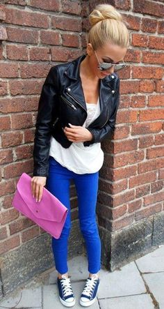 leather jacket, envelope clutch, skinnies, converse