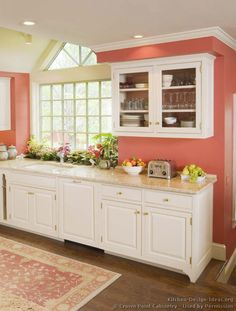 Romantic Pink Kitchen Color Scheme You Have To Know Pink Things pink color kitchen Pink Kitchen Walls, Coral Kitchen, Kitchen Wall Colors, New Kitchen, Pink Walls, Peach Kitchen, Kitchen Ideas, Kitchen Accent Walls, Coral Painted Walls