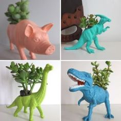planters made from old toys
