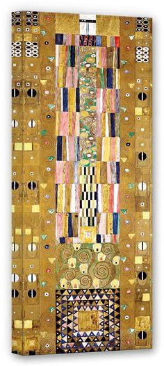 Das Stoclet-Fries ist ein Wandfries von Gustav Klimt im Spreisesaal des Palais Stoclet in Brüssel. 2 Meter hoch und 8 Meter lang, wurde es 1911 montiert. Die Werkzeichnungen hierfür befinden sich heute im Museum für angewandte Kunst in Wien.  Artikeldetails:  Größe: (B/H): 40/100 cm,  Material/Qualität:  100% Baumwolle,  Qualitätshinweise:  Auf festes Canvas aus 100% Baumwolle gedruckt, Für vie...