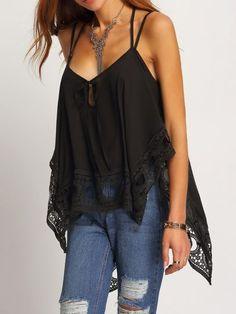 Black Lace Insert Asymmetrical Cami Top