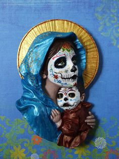Hey, I found this really awesome Etsy listing at https://www.etsy.com/listing/198145551/madonna-y-nino-day-of-the-deaddia-de-los