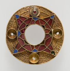 Gold Anglo-Saxon Bracteate, with garnet and glass inlay -- Fitzwilliam Museum, UK