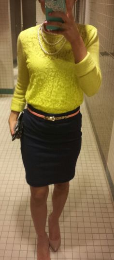 Business casual. Navy and neon. #pearls