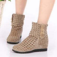 free shipping new 2014 summer women's boots in the Hollow increased rhinestones cool flat ankle with a single hole boots $27.90