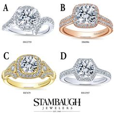 It's #WeddingWednesday! Which of these #GabrielNY engagement rings do you like best? #GabrielCoRetailer #StambaughJewelers #love #diamonds #shesaidyes #engaged #halo #3stone #bling #fashion #trendy #BridetoBe #RingGoals #LoveYou