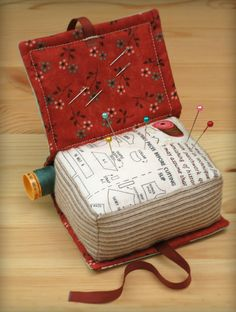 ~ ♥The Book Pillow & Pincushion pattern By Patchwork Pottery Sewing Tools, Sewing Notions, Sewing Hacks, Sewing Kits, Sewing Box, Needle Case, Needle Book, Fabric Crafts, Sewing Crafts