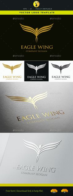 Eagle Wing Logo Template Vector EPS, AI #logotype Download: http://graphicriver.net/item/eagle-wing/11476910?ref=ksioks