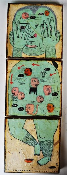 artist Triptych idea for three-piece beasts. Have students draw final onto brown paper, then glue onto square pieces of wood. Could be two-sided and connected with hooks so they can rotate. Frida Art, Art Brut, This Is A Book, Arte Popular, Naive Art, Outsider Art, Medium Art, Figure Painting, Oeuvre D'art