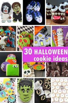 HALLOWEEN COOKIES: A roundup of 30 Halloween cookie decorating ideas, from easy to detailed, for beginner and expert cookie decorators. Homemade Halloween Costumes, Halloween Food For Party, Creative Halloween Costumes, Easy Halloween, Diy Costumes, Halloween Treats, Halloween Decorations, Halloween Baking, Halloween Foods