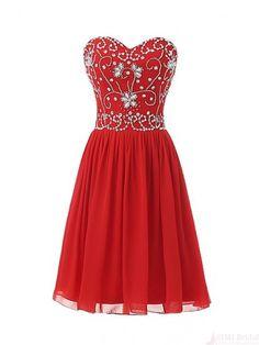 Sweetheart Beading Bodice Chiffon Short  Mini Homecoming Cocktail Dress #homecomingdresses #SIMIBridal