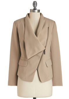 Milan a Roll Blazer in Beige. Hop on your scooter, zip the asymmetrical neckline of this beige blazer just so, and speed off to the next fashion show. #tan #modcloth