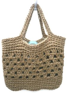 Tote Shopping Bag. Strong Crocheted Jute. Made by TrinketsNTrowels