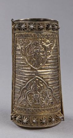 Indonesia ~ South Sulawesi | Tall armlet ~ 'Tigero Tedong' ~ silver gilt | 19th century Antique Art, Antique Jewelry, Silver Jewelry, Vintage Jewelry, Silver Ring, Ethnic Jewelry, Indonesian Art, Tribal Fusion, African Beads