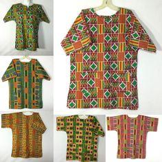 Dashiki Men Shirt African Hippie Vintage Women Top Tribal Kente Print S M L XL…
