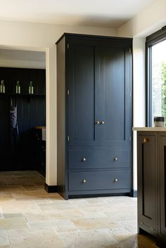 """A beautiful cupboard for Shaker deVOL pantry painted in our color """"Pantry Blue"""" … – Kitchen Pantry Cabinets Designs Kitchen Pantry Cupboard, Small Kitchen Pantry, Free Standing Kitchen Pantry, Kitchen Pantry Design, Cupboard Design, Built In Kitchen Cupboards, Country Cupboard, Travertine Floors, Stone Flooring"""