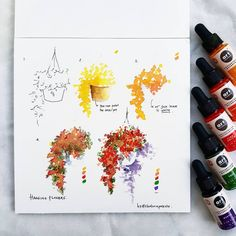I was sketching this tree when a thought hit me --> what about This simple tree is literally simple to Prima Watercolor, Watercolor Tips, Watercolour Tutorials, Watercolor Drawing, Watercolor Illustration, Watercolor Flowers, Painting & Drawing, Gouache Painting, Art Sketches