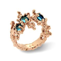 BETWEEN THE SEAWEEDS Rose Gold Ring Blue Topaz Ring Gold by arosha, $1160.00