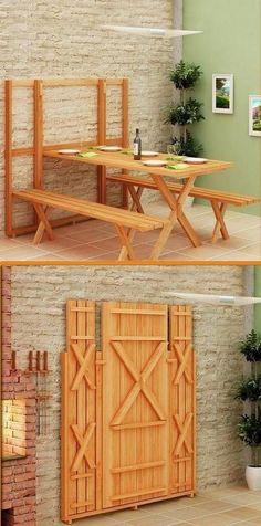 inklapbare tuintafel met bankjes handig bij weinig ruimte - via pinterest.