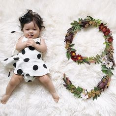 Month 9 - Polka dot romper, simple classic floral design flaylay Baby Milestone Flower Flatlay Tutorial DIY for all 12 Months with matching outfit ideas on @Joyfullygreen #babystyle #flowers #flatlay #babymilestone #diy #Monthlynumbers #baby #milestone #monthly #photos #flower #number #flowernumber #diy #tutorial #12months #babygirl #babyoutfits #newborn #pregnancy #maternity #photographer #howto