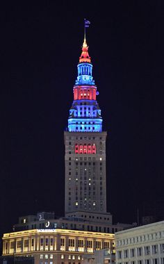 Red, White, and Blue lighting on building in downtown Cleveland, Ohio