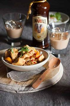 Amarula Apricot Chicken Casserole – A tasty meal using tender chicken, onions and spices with complementary flavours of dried apricots. Enjoy this meal at home with the recipe from - www.amarula.com/entertain#amarula-recipes South African Recipes, Ethnic Recipes, Apricot Chicken, Cream Liqueur, Economists, Tasty, Yummy Food, Dried Apricots, Chicken Tenders