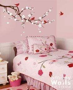 Vinyl Wall Decal Blossoming Cherry Branch -  Vinyl Wall Decal baby room decor kids room branch decal birds decal. $59.00, via Etsy.