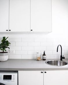 Versatile Concrete Benchtops – Giving Kitchen Trending Feature with Flexibility and Strength Grey Laundry Rooms, Laundry In Bathroom, Laundry Doors, Small Laundry, White Cupboards, Kitchen Cupboards, Dark Cabinets, Caesarstone Raw Concrete, Kitchen Benchtops