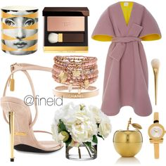Outfit with soft colors. Delpozo, Soft Colors, Tom Ford, Salvatore Ferragamo, Chanel, Rose, Polyvore, Outfits, Design