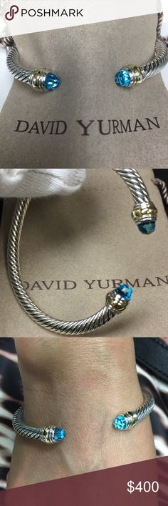 D.Y 5mm bracelet D.Y 5mm cable classic bracelet with blue topaz faceted 6mm and gold band David Yurman Jewelry Bracelets