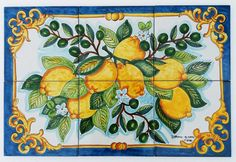 This is a hand painted panel of tiles 60x40 cm, approx. 23.6x15.7 inches.  The collage consists of 6 tiles each at 20x20 cm, 8x8 inches.  The beauty of the popular Italian fruit such as the Sorrento lemons, olive oil and have been hand painted into one collage on ceramic tiles that will make your home more unique. Our Ceramic Glazed Tiles are traditionally used to cover walls where they are used in finishing kitchens, bathrooms, benches, decorative panels, floor applications, pools…