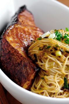 Cod Teriyaki with Ginger Scallion Noodles and Sauce