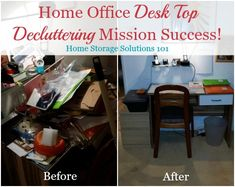 From messy desk to a clean organized desk! Tanja took on the Home Office Desk Top decluttering mission and look at what she accomplished! {on Home Storage Solutions 101}