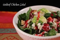 Waldorf chicken salad. Romaine with apples, feta, candied nuts and chicken topped with raspberry vinaigerette. What's not to love??