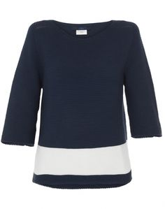 Navy Sweater with White Stripe | Les Copains | Halsbrook