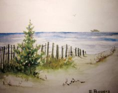 Watercolor Seascape archival print landscape painting door RPeppers