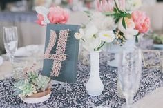 String art is currently a very popular detail at modern weddings. Use this summer camp classic to create your own table numbers in your wedding's color palette.