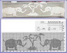 Szydełkomania: Bordiury Crochet Squares, Crochet Borders, Crochet Motif, Crochet Doilies, Crochet Patterns, Crochet Curtain Pattern, Crochet Curtains, Tapestry Crochet, Filet Crochet Charts