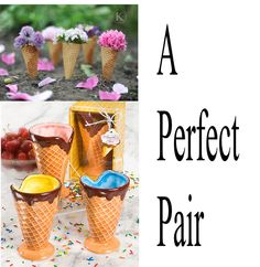 Another great way to accent the party...using ice cream cones and filling them with flowers....simple and easy.