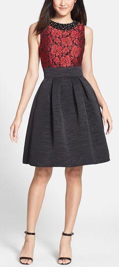 Embellished Jacquard Fit & Flare Dress