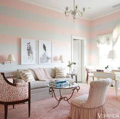 Wide horizontal stripes are surprisingly subtle in the pale-pink-and-grey pairing featured in this Southampton retreat. - ELLEDecor.com (=)