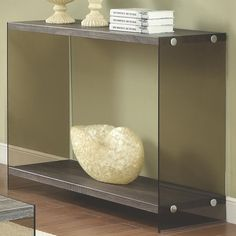Contemporary Grey Glass Wood Sofa Table w/Shelf