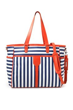 """Stella & Dot """"Keep It In the Bag"""" - Navy Stripe & Red Canvas Baby Bag - Perfect for new moms!"""
