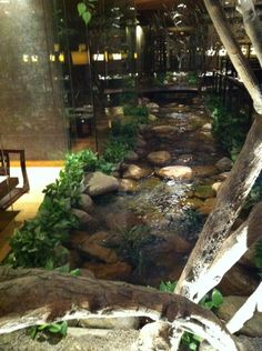 Indoor lazy river under glass kitchen floor yes please for Koi pool water gardens thornton